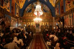 Palestinian Christians at the St. Porphyrius Church in Gaza. Stock Photos