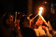 Palestinian Christians at the St. Porphyrius Church in Gaza. Palestinian Christians at the St. Porphyrius Church in Gaza City celebrate Palm Sunday. Palm Sunday Stock Photo