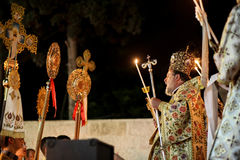 Palestinian Christians at the St. Porphyrius Church in Gaza. Stock Image