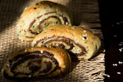 Palestinian cookie with dates called makrota. Zoom look on date cookie called makrota with cardamom on wood table Stock Images