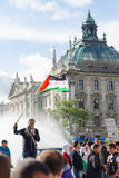 Palestinian demonstration in the center of the European Union Royalty Free Stock Images