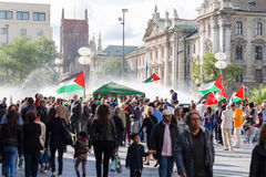 Palestinian demonstration in the center of a major European city royalty free stock image