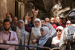 Palestinian demonstration in Jerusalem. JERUSALEM, ISRAEL - JULY 26, 2015: Palestinians protest in Old City of Jerusalem against ascent of religious jews to Stock Images