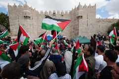 Palestinian demonstration in Jerusalem. Palestinians commemorating Nakba Day at Damascus Gate, East Jerusalem, May 15, 2013. The Nakba, literally, the stock image