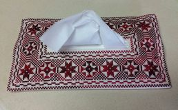 Palestinian embroidered tissue holder Royalty Free Stock Image