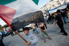Palestinian Flag at Protest Royalty Free Stock Photo