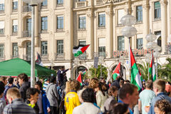 Palestinian flags over the German city. MUNICH, GERMANY - AUGUST 16, 2014: Palestinian flags over the German city. Anti-war rally demanding an end to the bombing stock photo