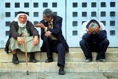 Palestinian man in Betlehem. Palestinian man sit on the steps in Betlehem Stock Photography