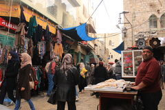 Palestinian man selling cakes in the street Royalty Free Stock Images