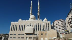 Palestinian mosque in AlEizariya. Large mosque with two minarets Royalty Free Stock Photo