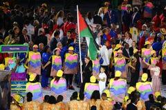 Palestinian Olympic team marched into the Rio 2016 Olympics opening ceremony at Maracana Stadium in Rio de Janeiro Royalty Free Stock Photo
