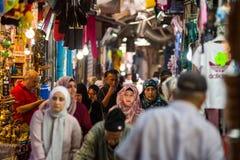 Palestinian people in the Muslim Quarter of Jerusalem Stock Image