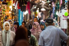 Palestinian people in the Muslim Quarter of Jerusalem Stock Photos