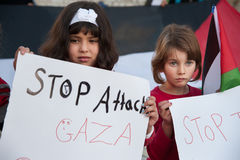 Palestinian protest against Gaza attack Stock Photos