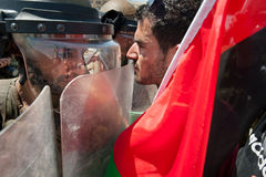 Palestinian protest and Israeli soldiers Royalty Free Stock Image