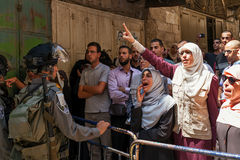 Palestinian protest in Jerusalem, Israel. JERUSALEM, ISRAEL - JULY 26, 2015: Palestinians in Old City of Jerusalem protest against ascent of jews to Temple Royalty Free Stock Photo