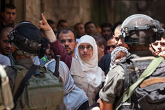 Palestinian protest in Old City of Jerusalem. JERUSALEM, ISRAEL - JULY 26, 2015: Palestinian protest in Old City of Jerusalem against ascent of jews to Temple Stock Photo