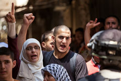 Palestinian protest in Old City of Jerusalem, Israel. Stock Photography