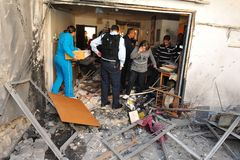 Palestinian rocket attacks on Israel. SDEROT, ISR - JAN 03 2009:Palestinian rocket hits Israeli house.Since 2001 over 15,000 rockets hit Israel killed 28 injured Stock Image
