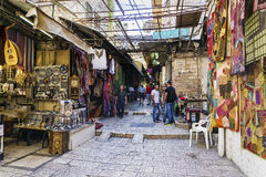 Palestinian souk market street shops in jerusalem old town israe Royalty Free Stock Photos