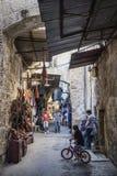Palestinian souk street shops in jerusalem old town israel Stock Photo