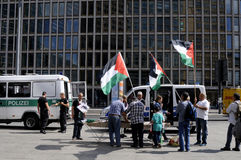 PALESTINIAN STAGED PROTEST AGAINST ISRAEL _FREE BILAL. Berlin - Germany_  13 August  2016- Palestinian stanged protest rally against state of Israel policies Royalty Free Stock Photos