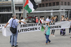 PALESTINIAN STAGED PROTEST AGAINST ISRAEL _FREE BILAL. Berlin - Germany_  13 August  2016- Palestinian stanged protest rally against state of Israel policies Royalty Free Stock Image
