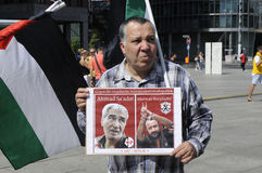 PALESTINIAN STAGED PROTEST AGAINST ISRAEL _FREE BILAL. Berlin - Germany_  13 August  2016- Palestinian stanged protest rally against state of Israel policies Stock Photography