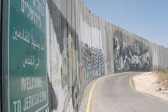 The Palestinian Wall: Welcome to Jerusalem, Israel. royalty free stock images