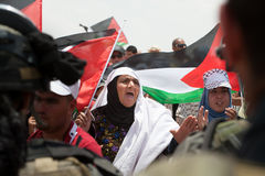Palestinian Women at Demonstration in West Bank Royalty Free Stock Image