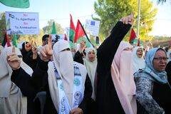 Palestinian women loyal to Hamas take part in a protest against Israel`s plan to annex parts of the Israeli-occupied West Bank