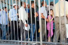 Palestinians at Israeli military checkpoint Royalty Free Stock Images