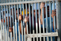 Palestinians at Israeli military checkpoint Stock Photos