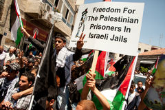 Palestinians march to demand freedom for prisoners Stock Photos