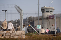 Palestinians passing through Bethlehem checkpoint Stock Images
