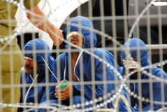 Palestinians prisoners. NIR OZ, ISR - APR 16:Palestinians prisoners on April 16, 2008. As of April 2013, there were approximately 4,700 security prisoners in Stock Photo