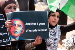Palestinians protest Barack Obama Stock Photos