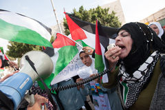 Palestinians protest Gaza attacks Royalty Free Stock Photos