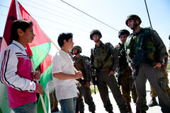 Palestinians protest Israeli wall Royalty Free Stock Photo