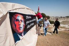 Palestinierprotest Barack Obama Arkivfoton