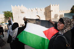 Palestinsk demonstration i Jerusalem Royaltyfria Foton