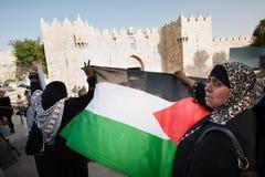 Palestinsk demonstration i Jerusalem Royaltyfria Foton