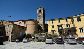 Palestro square. Colonnata. Apuan alps. Tuscany. Italy. Colonnata is an Italian ancient village and a hamlet of the comune of Carrara Royalty Free Stock Image
