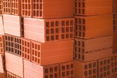 Palet de rajols. Bricks stacked, ready for use in a work, in a building Stock Photos
