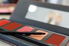 Palet met lipgloss, borstel op de lijst in de schoonheidssalon royalty-vrije stock afbeelding