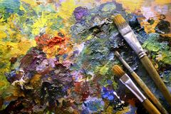 Palet met penselen Royalty-vrije Stock Foto