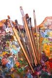 Palet met penselen Royalty-vrije Stock Afbeelding