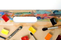 Palet op kleurrijke tablet royalty-vrije stock foto's