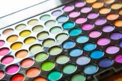 Palet professionele kleurrijke oogschaduwwen. Make-up vastgestelde achtergrond. Stock Fotografie