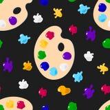 Palet van kleurrijke verf op een zwarte achtergrond Royalty-vrije Stock Afbeeldingen